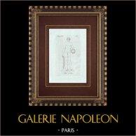 Atleta vincente - Nudo Maschio - Galleria Borghese - Roma | Incisione originale a bulino su rame su carta vergata. Anonima. 1796