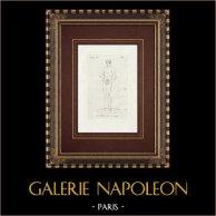 Unzione dell'atleta - Nudo maschio - Galleria Borghese - Roma | Incisione originale a bulino su rame su carta vergata. Anonima. 1796