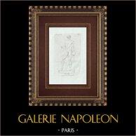 Discobolo - Giocatore di ruzzola - Galleria Borghese - Roma | Incisione originale a bulino su rame su carta vergata. Anonima. 1796