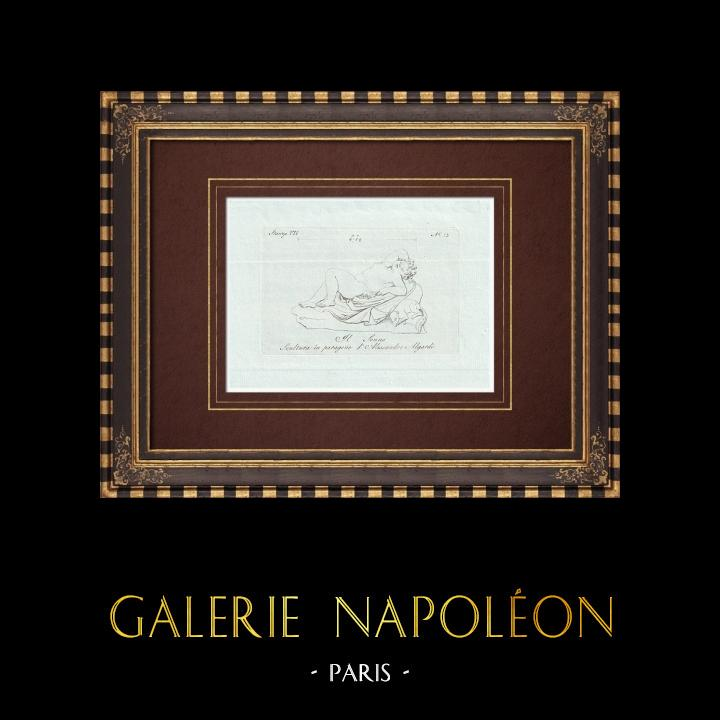 Antique Prints & Drawings | The Sleep - Sleeping child - Alessandro Algardi - Galleria Borghese - Rome | Copper engraving | 1796