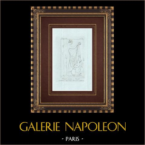 Vénus avec Cupidon et un monstre marin - Galerie Borghèse - Rome | Gravure sur cuivre originale sur papier vergé. Anonyme. 1796