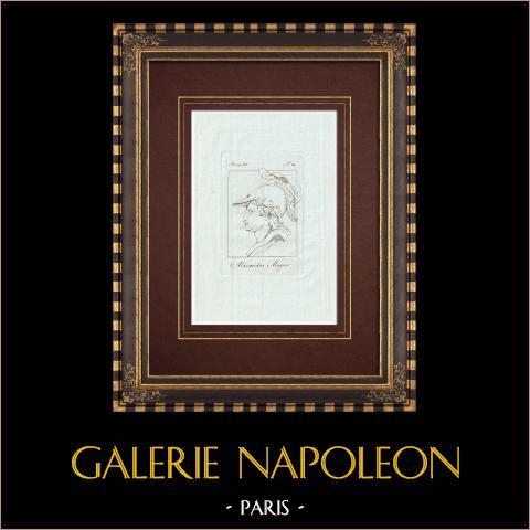 Tête de Alexandre le Grand avec le casque - Galerie Borghèse - Rome | Gravure sur cuivre originale sur papier vergé. Anonyme. 1796