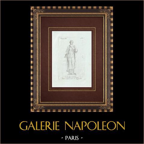 La Zingarella, simulacre de Diane - Mythologie romaine - Galerie Borghèse - Rome | Gravure sur cuivre originale sur papier vergé. Anonyme. 1796