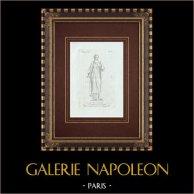 Zingarella, simulacro di Diana - Mitologia romana - Galleria Borghese - Roma | Incisione originale a bulino su rame su carta vergata. Anonima. 1796