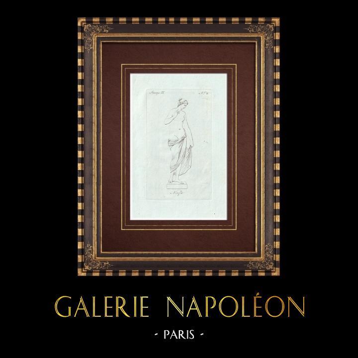 Grabados & Dibujos Antiguos | Ninfa - Mitología griega - Galería Borghese - Roma | Grabado calcográfico | 1796