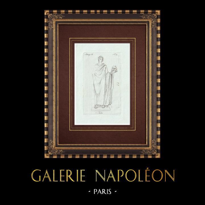 Gravures Anciennes & Dessins | Thalie - Muse - Comédie - Galerie Borghèse - Rome | Gravure sur cuivre | 1796