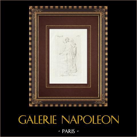 Amore detto il Genio - Cupid - Galleria Borghese - Rome | Original copper engraving on laid paper. Anonymous. 1796
