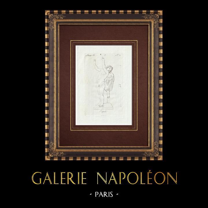 Gravures Anciennes & Dessins   Cupidon - Nu masculin - Ailes - Carquois - Galerie Borghèse - Rome   Gravure sur cuivre   1796