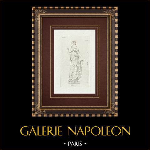 Hélène de Troyes - Galerie Borghèse - Rome | Gravure sur cuivre originale sur papier vergé. Anonyme. 1796