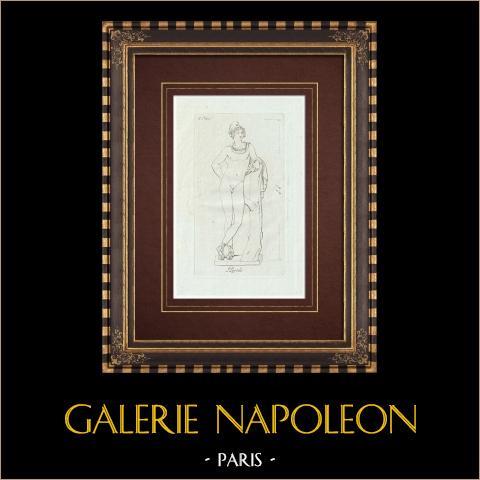 Pâris, Prince troyen - Galerie Borghèse - Rome | Gravure sur cuivre originale sur papier vergé. Anonyme. 1796