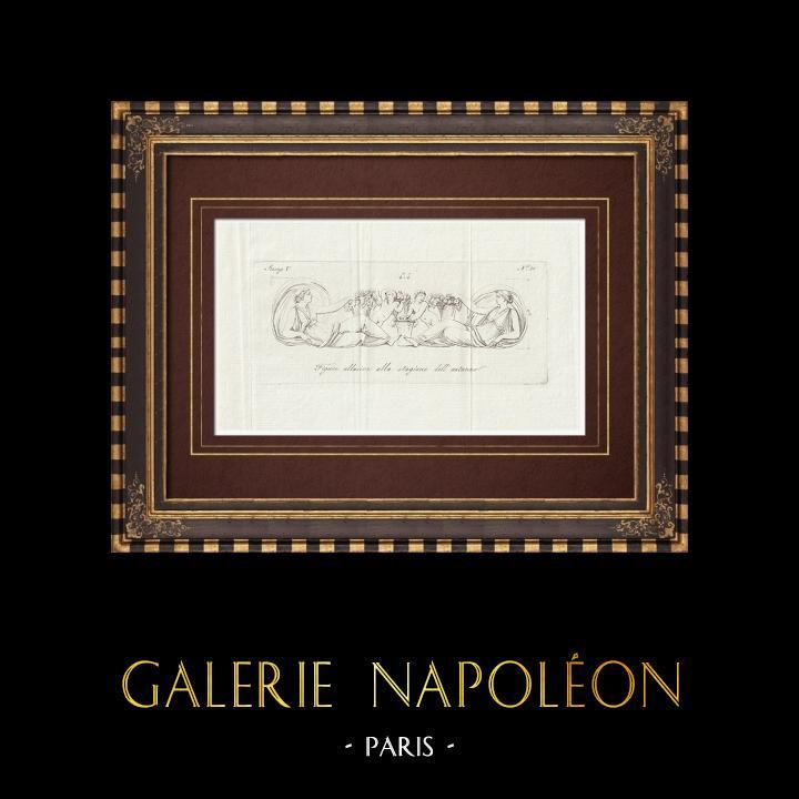 Grabados & Dibujos Antiguos   Otoño - Alegoría - Galería Borghese - Roma   Grabado calcográfico   1796