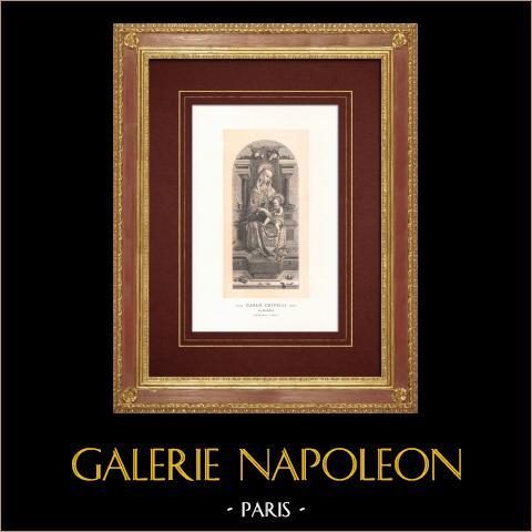 Madonna und Jesuskind (Carlo Crivelli) | Original holzstich auf getöntem papier nach Carlo Crivelli. 1870
