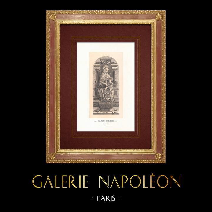 Stampe Antiche & Disegni   Madonna e Bambino (Carlo Crivelli)   Incisione xilografica   1870