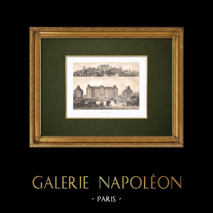 Stampe Antiche & Disegni | Veduta di Brienne - Castello - Napoleone I - Aube (Francia) | Litografia | 1852