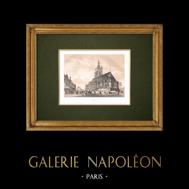 Gravures Anciennes & Dessins | Vue de Villenauxe-la-Grande - Eglise Saint Pierre et Saint Paul - Aube (France) | Lithographie | 1852