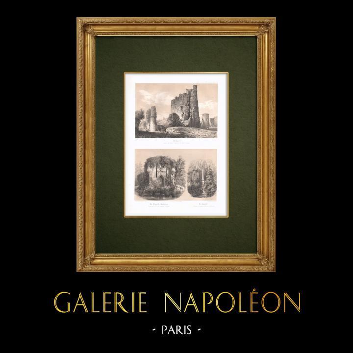Stampe Antiche & Disegni | Castello di Foujon - Chapelle-Godefroy - Paraclito - Vestigio - Aube (Francia) | Litografia | 1852