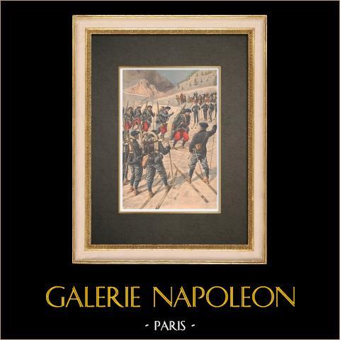 Zawody Narciarskie - Armia Francuska - Chamonix - Francja - 1908 |