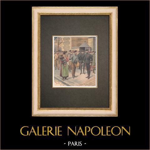 Solidaridad en los cartueles de Port-Vendres - Francia - 1908 | Grabado xilográfico original impreso en cromotipografia. Anónimo. Reverso impreso. 1908