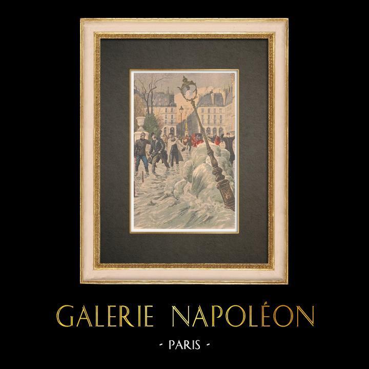 Antique Prints & Drawings | Flood in Rue des Tuileries, 1st arrondissement of Paris - 1908 | Wood engraving | 1908
