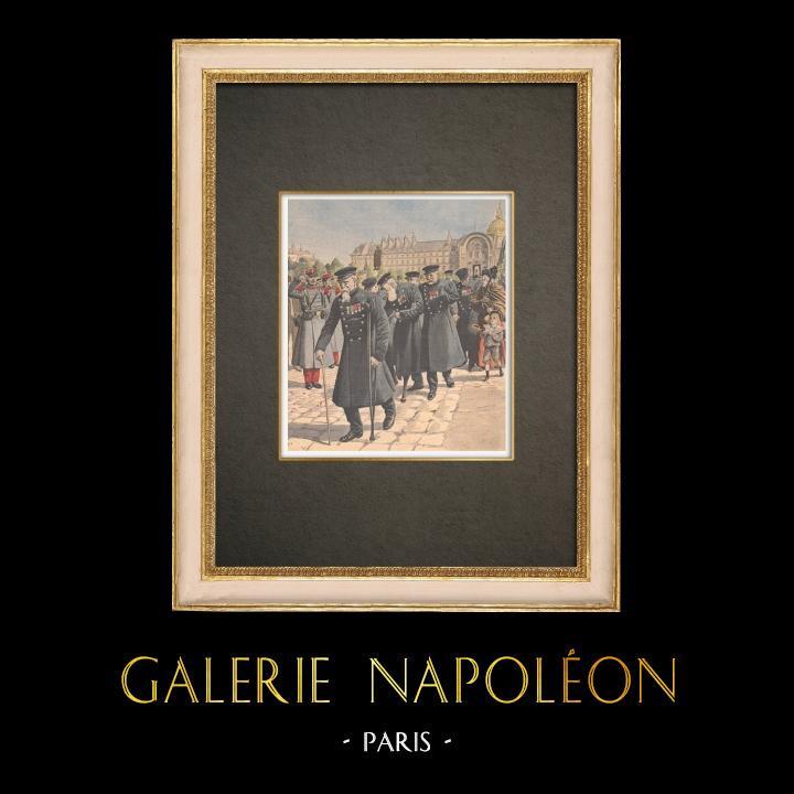 Stampe Antiche & Disegni | Hôtel des Invalides - Gli ultimi disabili - VII Arrondissement di Parigi - 1908 | Incisione xilografica | 1908