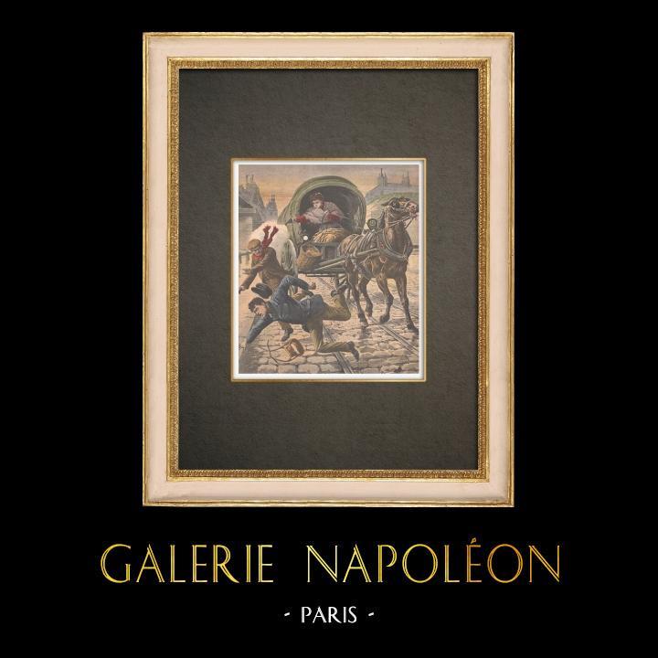 Stampe Antiche & Disegni   Un orticoltore attaccato dai ladri a Parigi - 1908   Incisione xilografica   1908