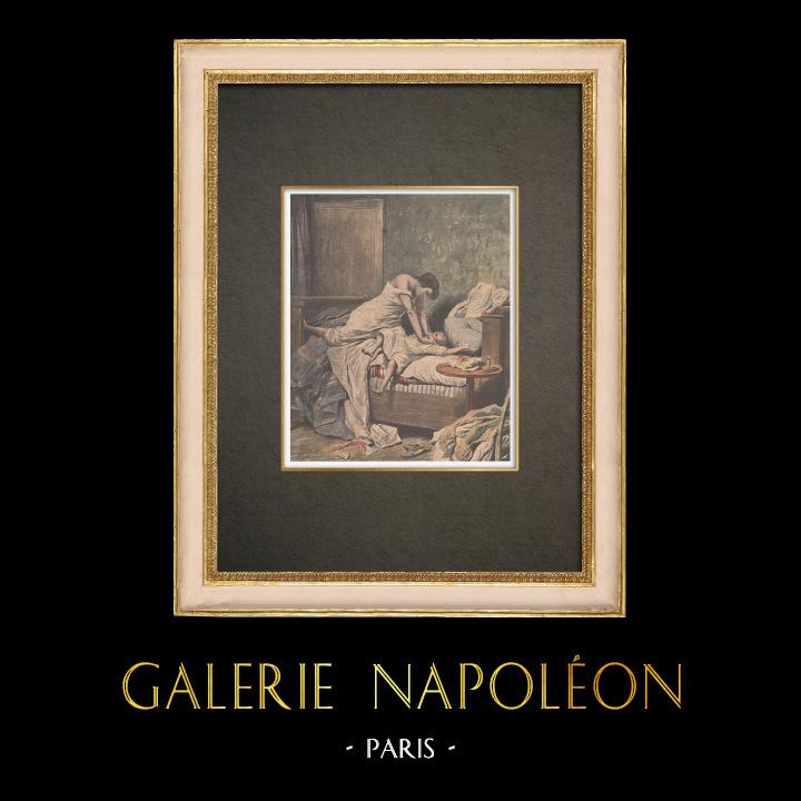 Antique Prints & Drawings   Jeanne Weber, the ogress of the Goutte-d'Or - Serial killer - Paris - 1908   Wood engraving   1908