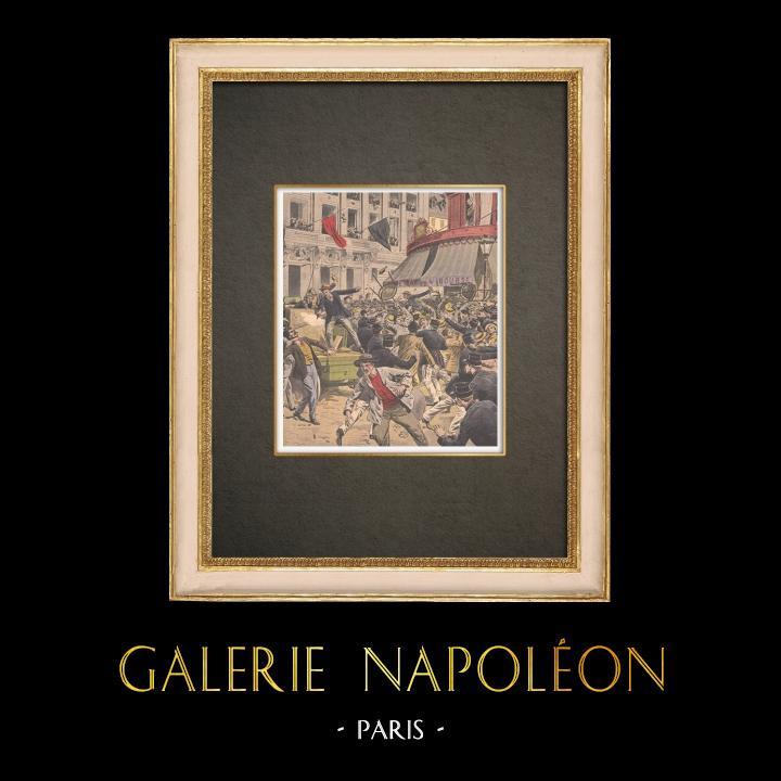 Stampe Antiche & Disegni | Sciopero - Combattendo nei paraggi di Bourse du Travail - Parigi - 1908 | Incisione xilografica | 1908