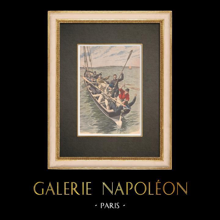 Grabados & Dibujos Antiguos | Prisioneros de Belle-Ile matan a su guardián en el mar - 1908 | Grabado xilográfico | 1908