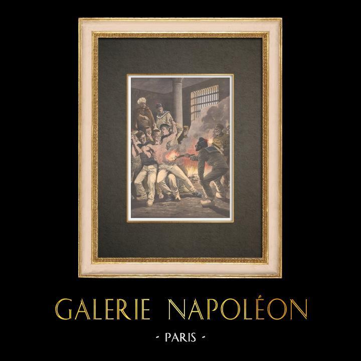 Grabados & Dibujos Antiguos | Prisión de Cherbourg - Suplicios entre prisioneros - Francia - 1908 | Grabado xilográfico | 1908