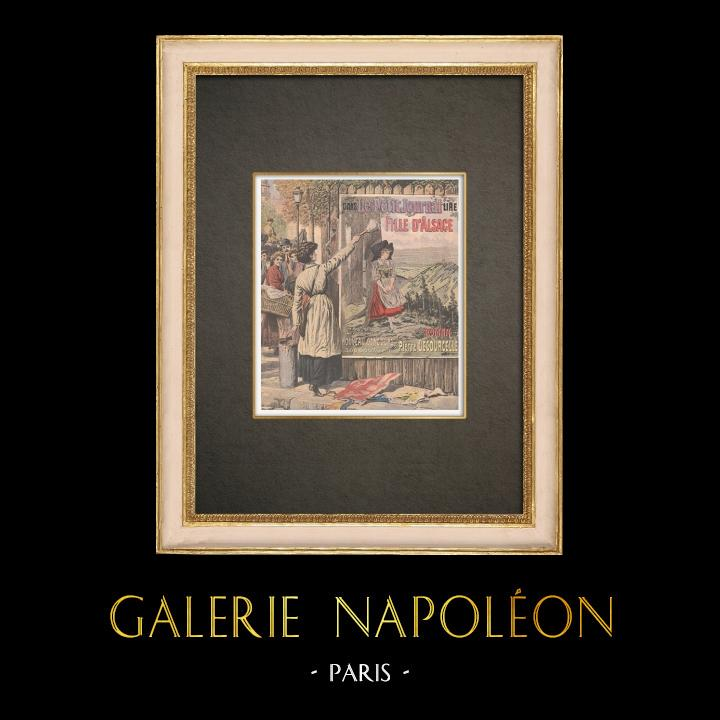 Gravures Anciennes & Dessins | Féminisme - La première colleuse d'affiches - Paris - 1908 | Gravure sur bois | 1908