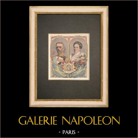 Retratos de Gustavo V de Suecia (1858-1950) y Victoria de Baden (1862-1930) | Grabado xilográfico original impreso en cromotipografia. Anónimo. Reverso impreso. 1908