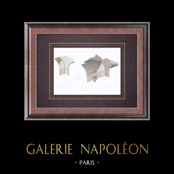 Gravures Anciennes & Dessins | Mont Palatin - Maison d'Auguste - Palais impérial - Voûte - Rome | Taille-douce | 1873