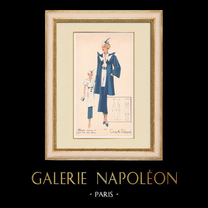 Antique Prints & Drawings | Fashion Plate - Spring 1935 - Alpaga Marine et Piqué de Soie Blanc | Print | 1935