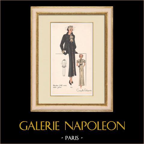 Grabado de Moda - Primavera 1935 - Manteau faille noire - Boléro Gansé | Original grabado polícromo. Anónimo. Coloreado con pochoir. 1935