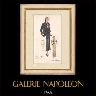 Gravure de Mode - Printemps 1935 - Manteau faille noire - Boléro Gansé
