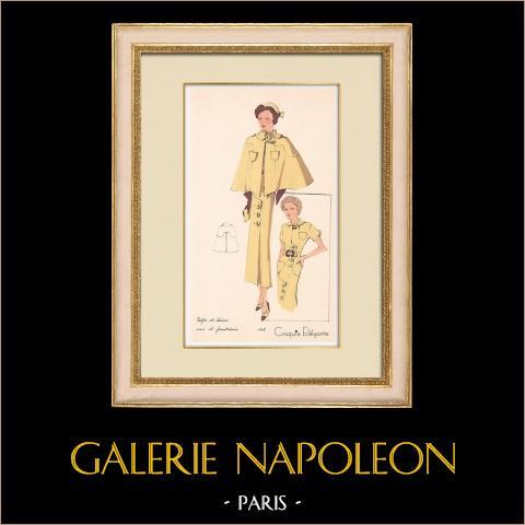 Grabado de Moda - Primavera 1935 - Crêpe de laine uni et fantaisie | Original grabado polícromo. Anónimo. Coloreado con pochoir. 1935