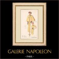 Gravure de Mode - Printemps 1935 - Crêpe de laine uni et fantaisie