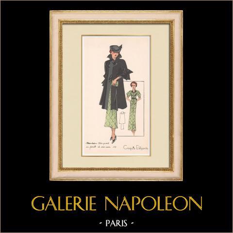 Grabado de Moda - Primavera 1935 - Manteau Trois Quarts en poult de soie noir | Original grabado polícromo. Anónimo. Coloreado con pochoir. 1935