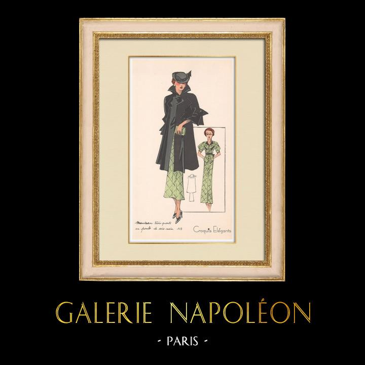 Stampe Antiche & Disegni | Stampa di Moda - Primavera 1935 - Manteau Trois Quarts en poult de soie noir | Stampa | 1935