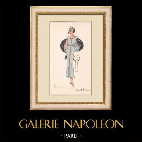 Grabado de Moda - Primavera 1935 - Marocain de laine et renard | Original grabado polícromo. Anónimo. Coloreado con pochoir. 1935