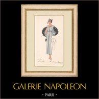 Gravure de Mode - Printemps 1935 - Marocain de laine et renard | Impression polychrome originale. Anonyme. Coloriée au pochoir. 1935