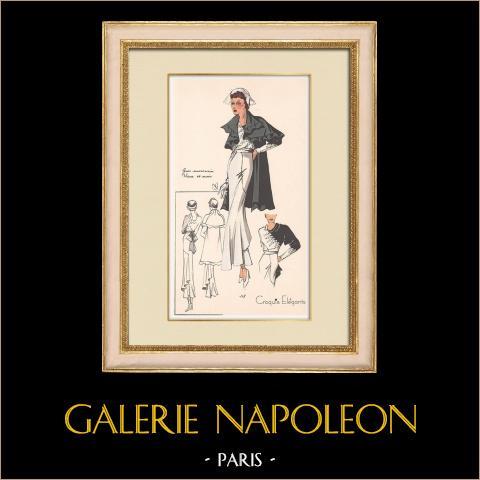 Grabado de Moda - Primavera 1935 - Gros marocain blanc et noir | Original grabado polícromo. Anónimo. Coloreado con pochoir. 1935