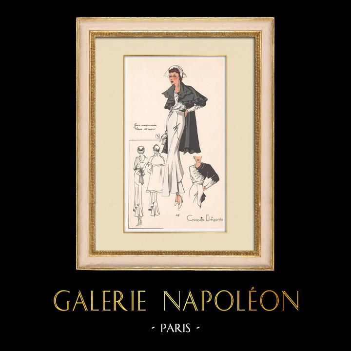 Antique Prints & Drawings | Fashion Plate - Spring 1935 - Gros marocain blanc et noir | Print | 1935