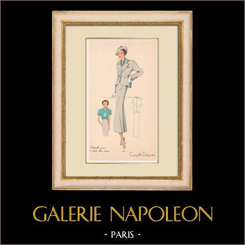 Grabado de Moda - Primavera 1935 - Flanelle grise et toile bleue claire | Original grabado polícromo. Anónimo. Coloreado con pochoir. 1935