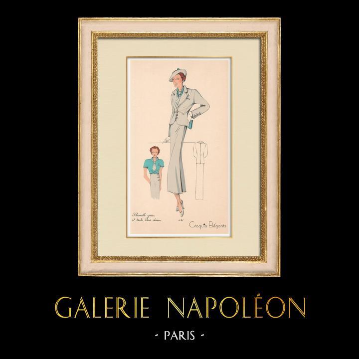 Stampe Antiche & Disegni | Stampa di Moda - Primavera 1935 - Flanelle grise et toile bleue claire | Stampa | 1935