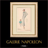 Gravura de Moda - Primavera 1935 - Flanelle grise et toile bleue claire