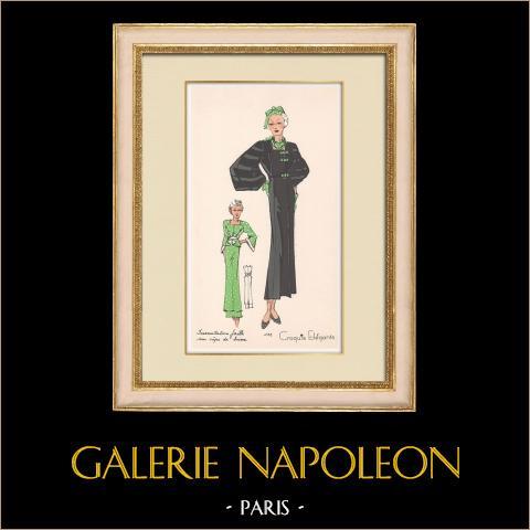 Grabado de Moda - Primavera 1935 - Incrustations faille sur crêpe de laine | Original grabado polícromo. Anónimo. Coloreado con pochoir. 1935