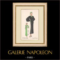 Fashion Plate - Spring 1935 - Incrustations faille sur crêpe de laine