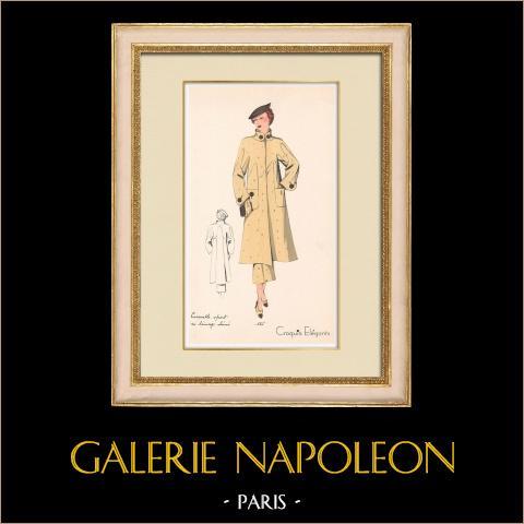 Grabado de Moda - Primavera 1935 - Ensemble sport en lainage chiné | Original grabado polícromo. Anónimo. Coloreado con pochoir. 1935