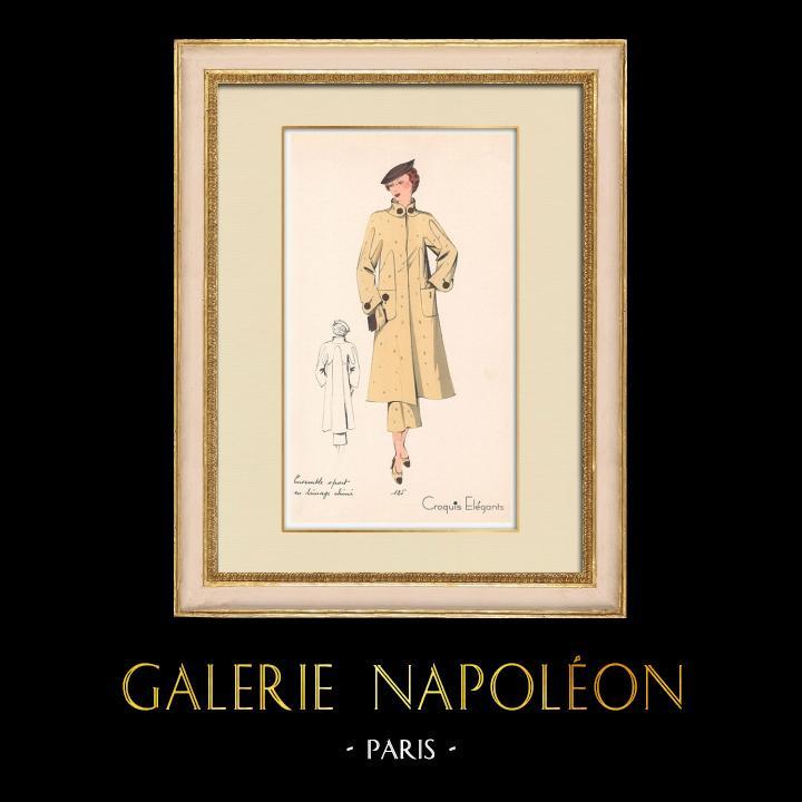 Antique Prints & Drawings | Fashion Plate - Spring 1935 - Ensemble sport en lainage chiné | Print | 1935